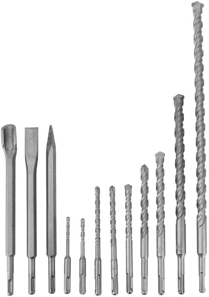 3 forets /à burin Lot de 12 forets et burins 9 forets en b/éton pour marteau