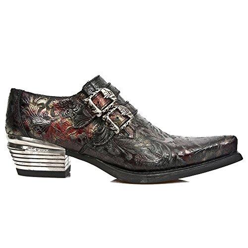 M-7960-S5-46 Schwarz-rote neue Rock-Schuhe im Vintage-Design mit 2 Skull-Buckles und Block-Heel in Metal-Look aus der New Rock Dallas Collection.