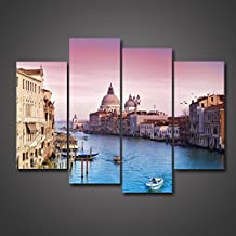 4 Pieces Set Modern Wall Art Pictures Venice Italy Oil Painting Town Cityscape Grand Canal Landscape Print Stretched and Framed Canvas For Living Room Decoration City Photo by uLinked Art