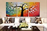 Stretched Frame Hand Painted Oil Paint Promotion Free Shipping White flowers Tree Picture Oil Painting Canvas triptych living room wall painting