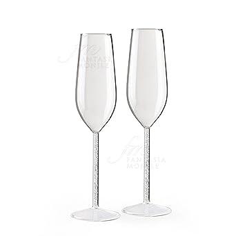 Hervit Transparents Long De Champagne Lot Tige Flute En Deux