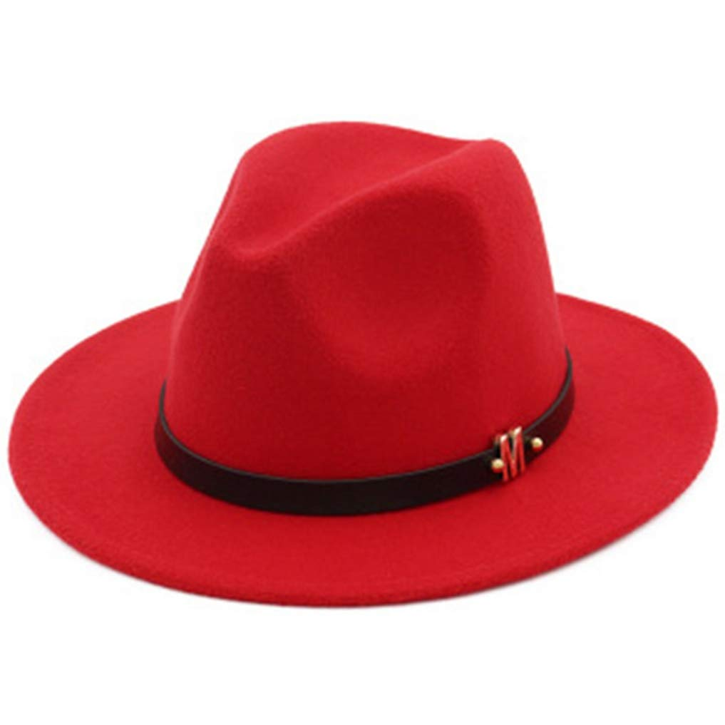 Mens Fedora Hats Unisex Classic Timeless Wide Brim Wool Felt Trilby Jazz Cap with Black Leather Belt