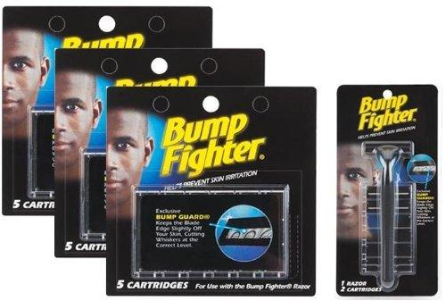 Bump Fighter Set: 1 Razor Handle with 17 Refill Blades (Bumps Razor)