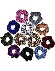 12pcs Packed Scrunchies Velvet Elastic Scrunchie Hair Bands Bobble Hair Scrunchy Hair Ties Ponytail Holder for Girls and Women