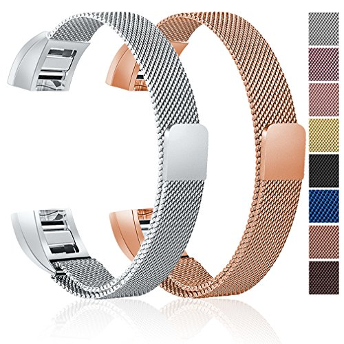 For Fitbit Alta HR and Alta Bands, Maledan Stainless Steel Milanese Loop Metal Replacement Accessories Bracelet Strap with Unique Magnet Lock for Fitbit Alta HR and Alta, Rose Gold Silver (Loop Lock Straps)