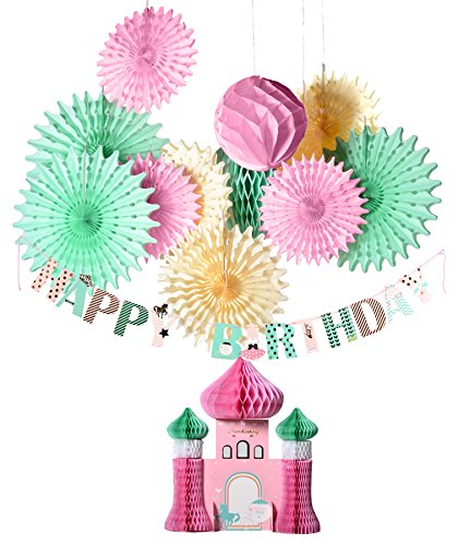 PAPER JAZZ Girl princess Happy birthday banner castle centerpiece paper fan honeycomb party decoration kit (CASTLE KIT) Castle Centerpiece