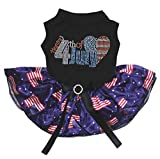 Petitebella Puppy Clothes Dress Bling 4th of July Black Top US Flag Blue Tutu (XX-Large)
