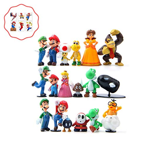 Mario Bros Cake Topper | 18PCS Toy Set | Bonus Sticker Included -