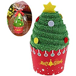 RUNSTAR Cupcake Christmas Towels, Santa Snowman and Christmas Tree Xmas Decorations Party Favors Gifts for Kids, 30x30cm (Xmas Tree)