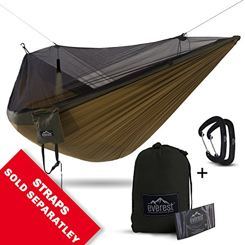Double Hammock - Everest | Bug & Mosquito Free Camping & Outdoor Hammocks Tent Reversible Integrated BugNet YKK Zipper Ripstop Diamond Weave Nylon Includes Lightweight Carabiners | Khaki / - Market Woodlands The Square