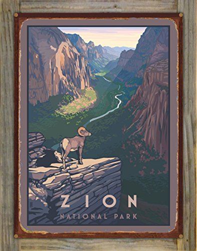 Zion Canyon Bighorn Sheep Zion National Park Rustic Metal Print on Reclaimed Barn Wood by Paul Leighton (18