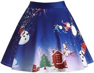 BaZhai de Navidad, Mujeres Navidad Papá Noel Estampado 3D Falda ...