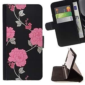 Momo Phone Case / Flip Funda de Cuero Case Cover - Papel pintado floral gris Hermosa - LG G4