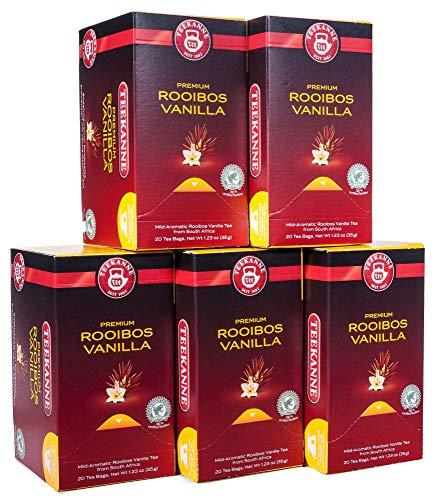 찻주전자 프리미엄 루이보스 바닐라 20 컵 부분, 5 팩 (5 x 35 g)