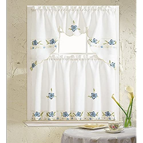 Bu0026H Home Aster Floral Embroidered 3 Piece Kitchen Curtain Window Treatment  (Blue)