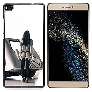 "Qstar Arte & diseño plástico duro Fundas Cover Cubre Hard Case Cover para Huawei Ascend P8 (Not for P8 Lite) (Pin Up Race Mujer"")"