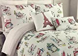 Cynthia Rowley Full/Queen Comforter Set Paris Scenes 5 pc Including Eiffel Tower French Pink White Girls Bedding