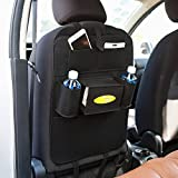 Car Backseat Organizers, Multi-Pocket Travel Storage Bag, Auto Car Seatback Cover Protector with Tablet Holder,Kick Mat Protector (Black)