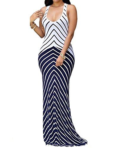 shekiss Women Sleeveless Sexy Maxi Stretch Bodycon Party Bandage Club Dresses 3X Purplish Blue