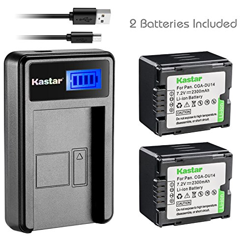 Gs500 Camcorder - Kastar Battery (X2) & LCD USB Charger for Panasonic CGA-DU14 and NV-GS40 GS44 GS47 GS50 GS55 GS58 PV-GS150 GS200 GS300 GS320 GS400 GS500 SDR-H250 H280 VDR-D258 D300 D308 D310 D400 M74 M75 M95 M250