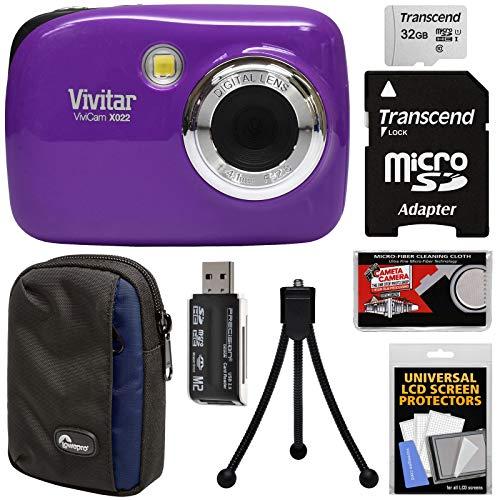 Vivitar ViviCam VX022 Digital Camera (Purple) with 32GB Card + Case + Tripod + Kit (Purple Camera)