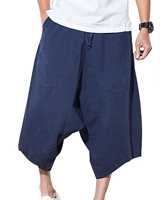 ShiFan Pantalón Lino Hombre Baggy Casual Harem Capri Pantalones Multibolsillos Ropa Etnica Uvztp