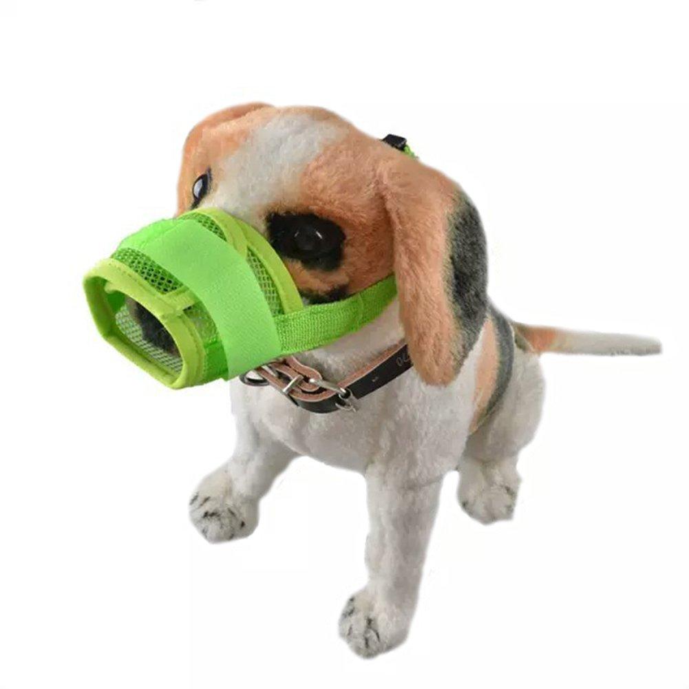Green M strimusimak Soft Dog Muzzle Adjustable Pet Dog Mouth Cover mask Pure Anti Bite