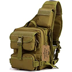 ArcEnCiel Tactical Sling Bag Pack Military Shoulder Chest Motorcycle Backpack (Coyote Brown)