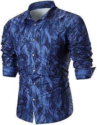 Qiusa Camisas Azules para Hombre de Manga Larga Casual Top Slim ...