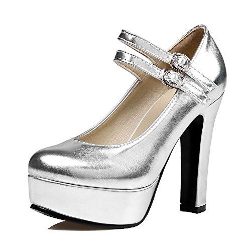 Alti Delle Pompe shoes Rotonda Tacchi Pu Allhqfashion Argento Donne Fibbia toe Solido nYrBpwYWq