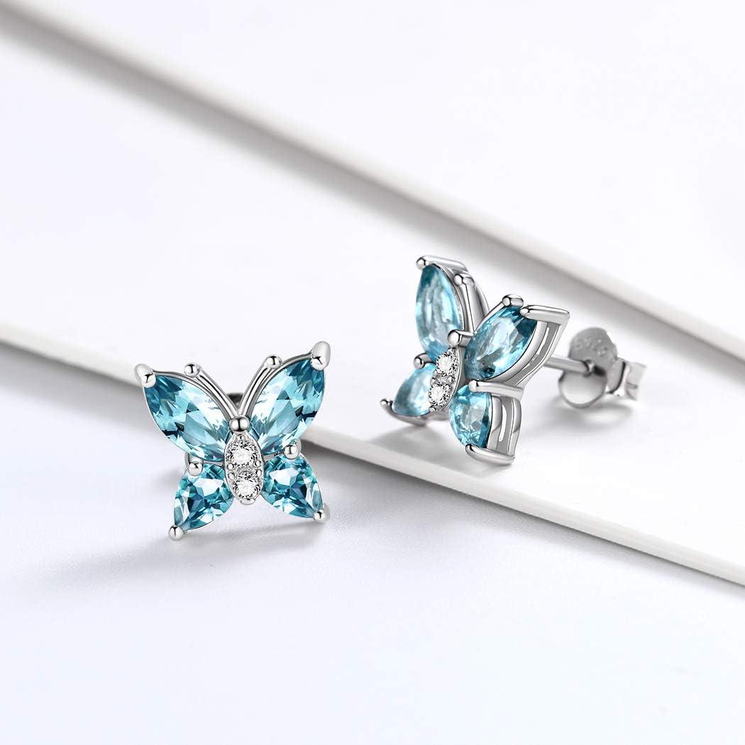 Aurora/Tears 925 Sterling Silber Schmetterling Halskette Ohrringe Ringe Birthstone Schmuck Set Anh/änger Dating Anh/änger Geschenke f/ür Frauen und M/ädchen