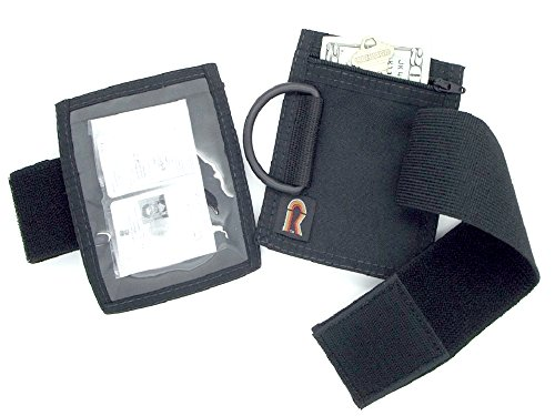 - Armband Nylon Adjustable ID/Badge Holder with Zipper Pouch. Medium. Made in USA. (Black)