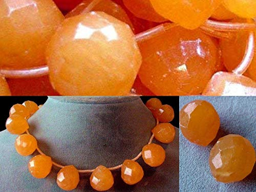 Jade Faceted Briolette Beads - Honey Jade Faceted Briolette Bead Strand for Jewerly Making 4549