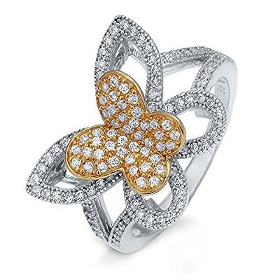 anillo de mariposa en plata