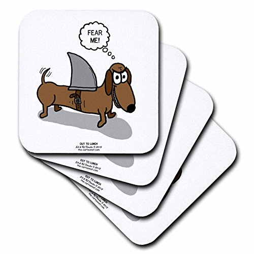 3dRose cst_164020_3 Weiner Dog with A Sharks Fin Ceramic Tile Coasters, (Set of - Coaster Dog Ceramic Tile