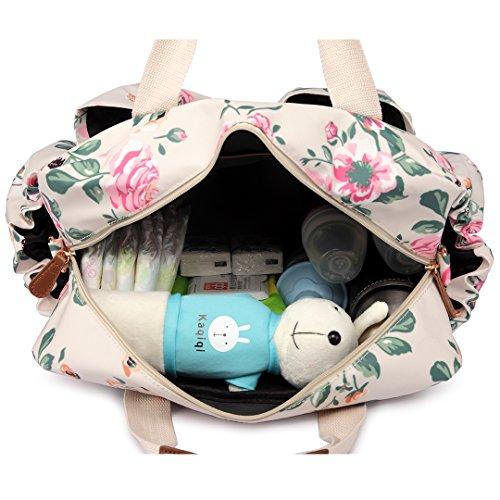 3629281018f79 Miss Lulu 4 Pieces Baby Diaper Nappy Changing Bags Set Flower Bird Matte  Oilcloth Maternity Handbag Mummy Tote Nursing Clean Wet Bag (Beige Flower  1501-17F) ...