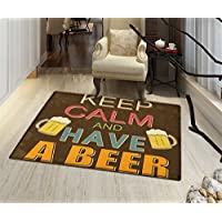 Keep Calm Non Slip Rugs Have a Beer Vintage Poster Design with Foamy Glasses Cheers Old Pubs and Bars Indoor/Outdoor Area Rug 32x48 Multicolor