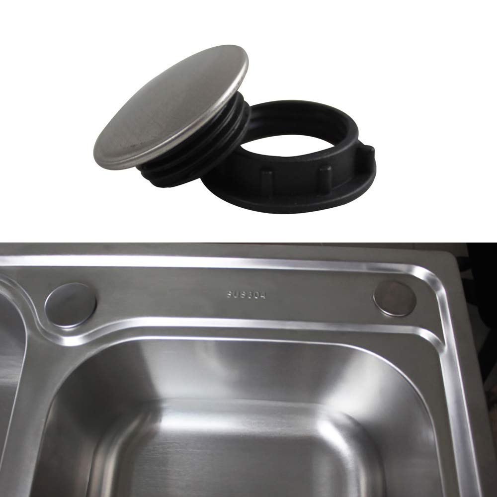 4 Packs Qrity Kitchen Sink Tap Hole Blanking Plug Cover Plate Disk, SUS 304 Stainless Steel, for φ 1~1.4 Inch (28-44mm)