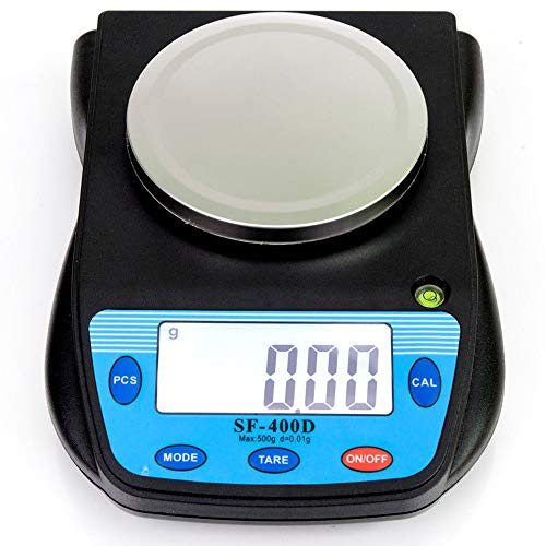 500g x 0.01g Digital High Precision Laboratory Analytical Balance Scale with Large LCD Display, Multifunctional Compact Lab Scales Accuracy Weighs Grams, Carats, Ounces, Pounds for Science, ()