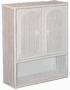 White Wicker Bathroom Wall Medicine Cabinet Home Kitchen