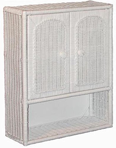 white wicker bathroom wall medicine cabinet
