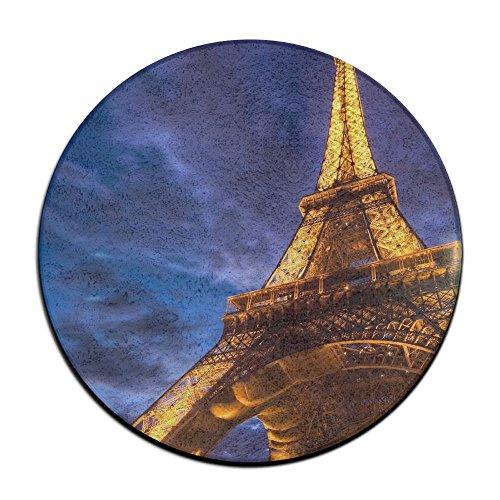 Laurel Non-Slip Round Rug Eiffel Tower Picture Entrance Doormat Floor Pet Kids Mat Shoes Scraper Diameter 23.6 inch
