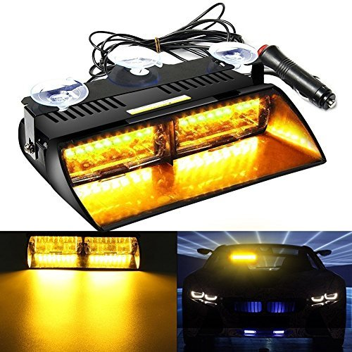AMBOTHER 16 LED High Intensity Law Strobe Emergency light Hazard Police Warning Flash Flashlight Enforcement Lights 18 Modes for Interior Roof/Dash / Windshield with Suction Cups (Amber)