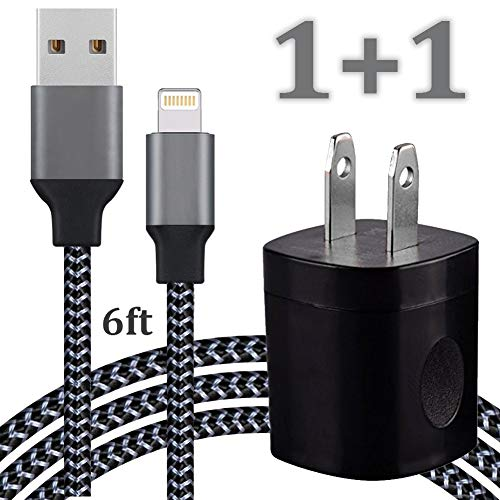 Cellphone Charging Kit - Pack of 6FT USB Data Sync Cable Braided Cord with Cube Wall AC Charger Brick Power Adapter Plug Compatible with Phone Xs X Max 8 7 6 5 SE Pad Pro Mini Air Pod - CarbonBlack