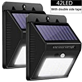 Solar Lights Outdoor, Jorft 2 Pack 42 LED 400LM Wireless Solar Wall Lamp Human/Light Sensor Waterproof Bright Lights for Garden, Fence, Door, Yard or Entrance Use with Double-Side Tape