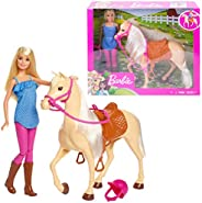 Barbie Doll, Blonde, Wearing Riding Outfit with Helmet, and Light Brown Horse with Soft White Mane and Tail, G