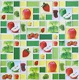 wall borders grapes - HUE DECORATION Peel and Stick Tiles for Kitchen Backsplash, Apple Strawberries Grape Field Mint Sticker Wall Tiles,10