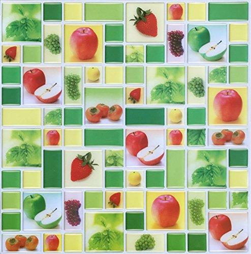 HUE DECORATION Peel and Stick Tiles for Kitchen Backsplash, Apples/strawberries Sticker Tiles,10