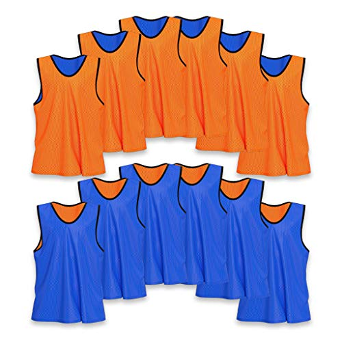 Unlimited Potential Nylon Mesh Scrimmage Team Practice Vests Pinnies Jerseys Bibs for Children Youth Sports Basketball, Soccer, Football, Volleyball (12 Pack, Reversible Orange/Blue, ()