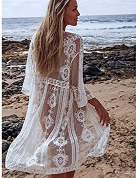 CHZDNSCS Camisa Mujer Verano Estilo De Playa De Encaje Blanco De Malla Largo Kimono Casual Sheer Bohomian Kimono Cardigan B: Amazon.es: Deportes y aire libre
